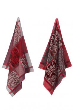 Elias theedoek en handdoek classic Flower red