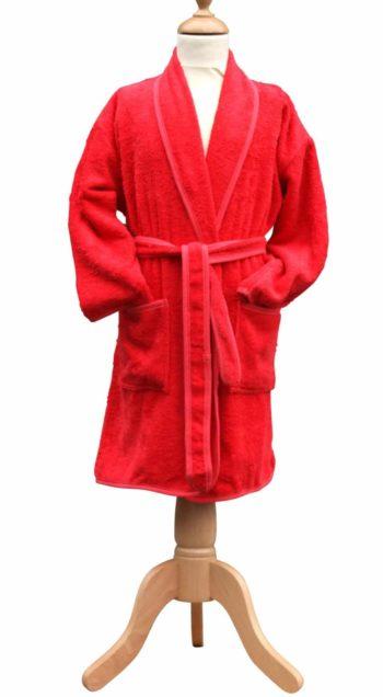 Badstof kinderbadjas met sjaalkraag rood