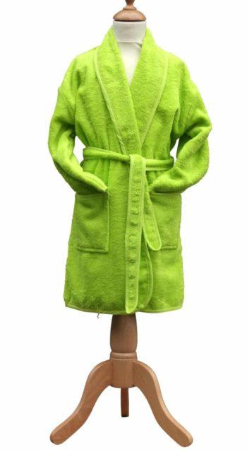 Badstof kinderbadjas sjaalkraag lime groen
