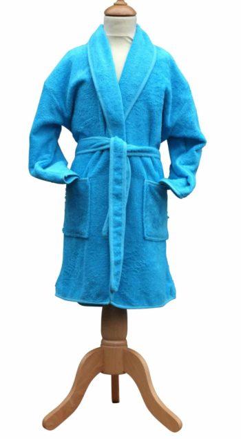 Badstof kinderbadjasje aqua-blauw