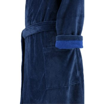 Heren badjas kimono stijl Lago blauw mouw