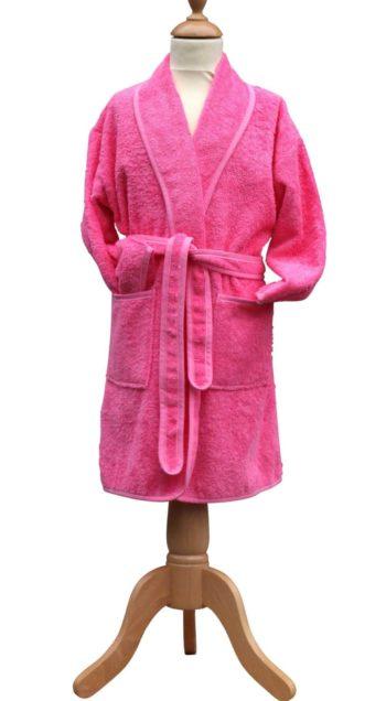 Kinderbadjas sjaalkraag roze