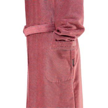 Cawö rits dames badjas met capuchon rood mouw