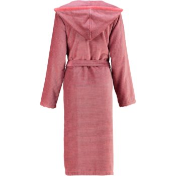 Cawö rits dames badjas met capuchon rood mouw achter