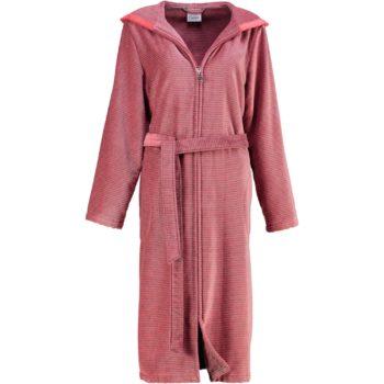 Cawö rits dames badjas met capuchon rood mouw voor