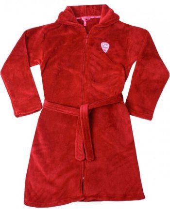 Fleece meisjes badjas rood