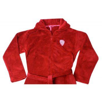 Fleece meisjes badjas rood detail