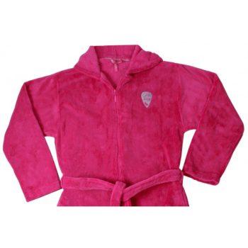 Fleece meisjes badjas roze detail