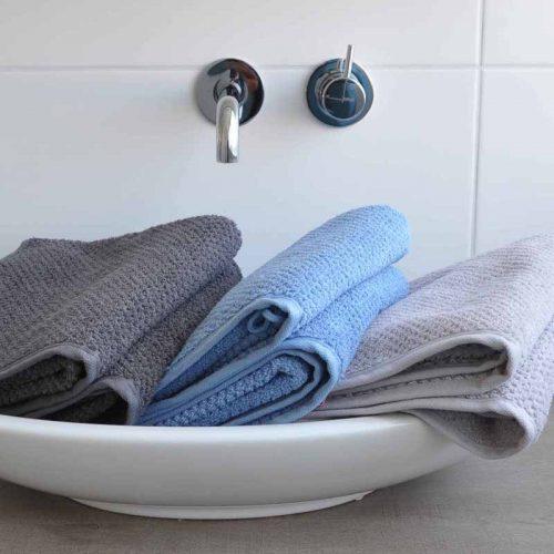 Handdoek s Oliver antraciet- lichtblauw-zilver