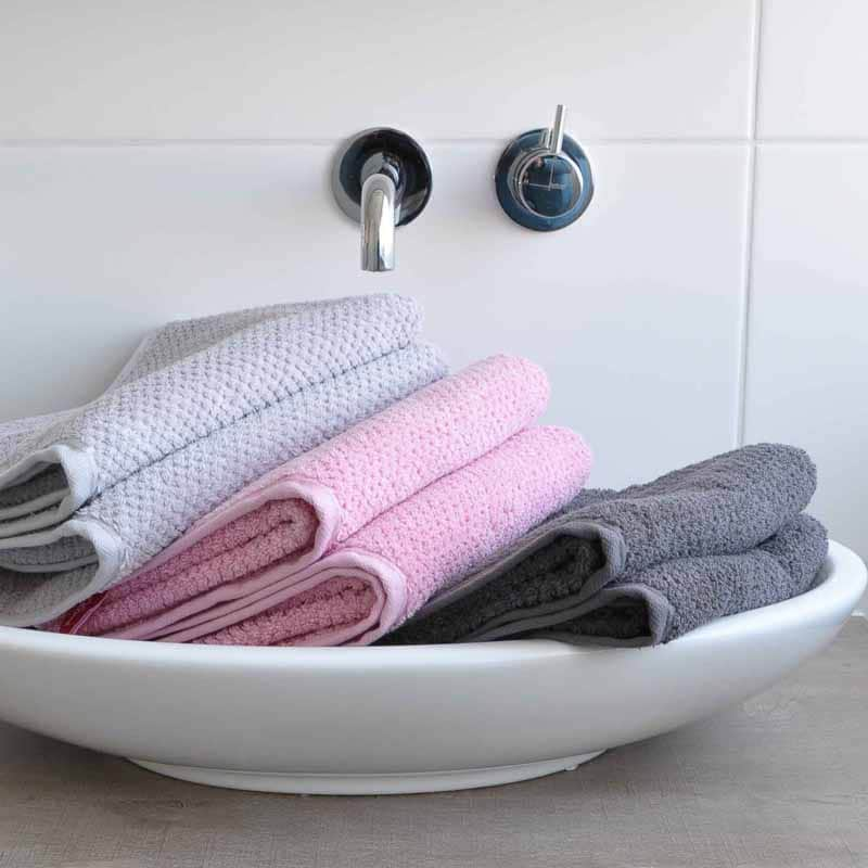 Handdoek s Oliver zilver-roze-antraciet