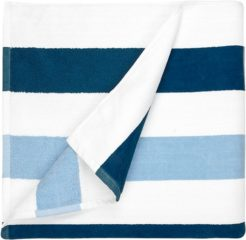 Strandlaken The One strepen Navy met lichtblauw