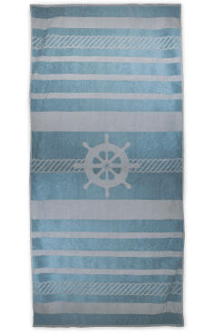Strandlaken The One Sailor petrolblauw/creme