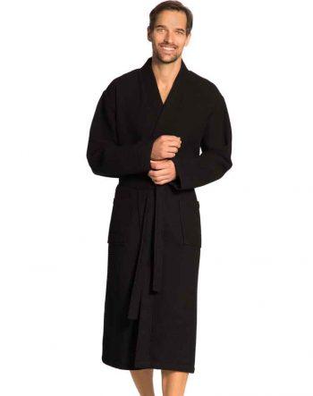 Vossen wafel badjas uniseks Wellington zwart