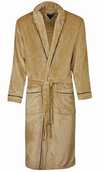 Paul Hopkins Beige badjas voor heren in fleece kwaliteit